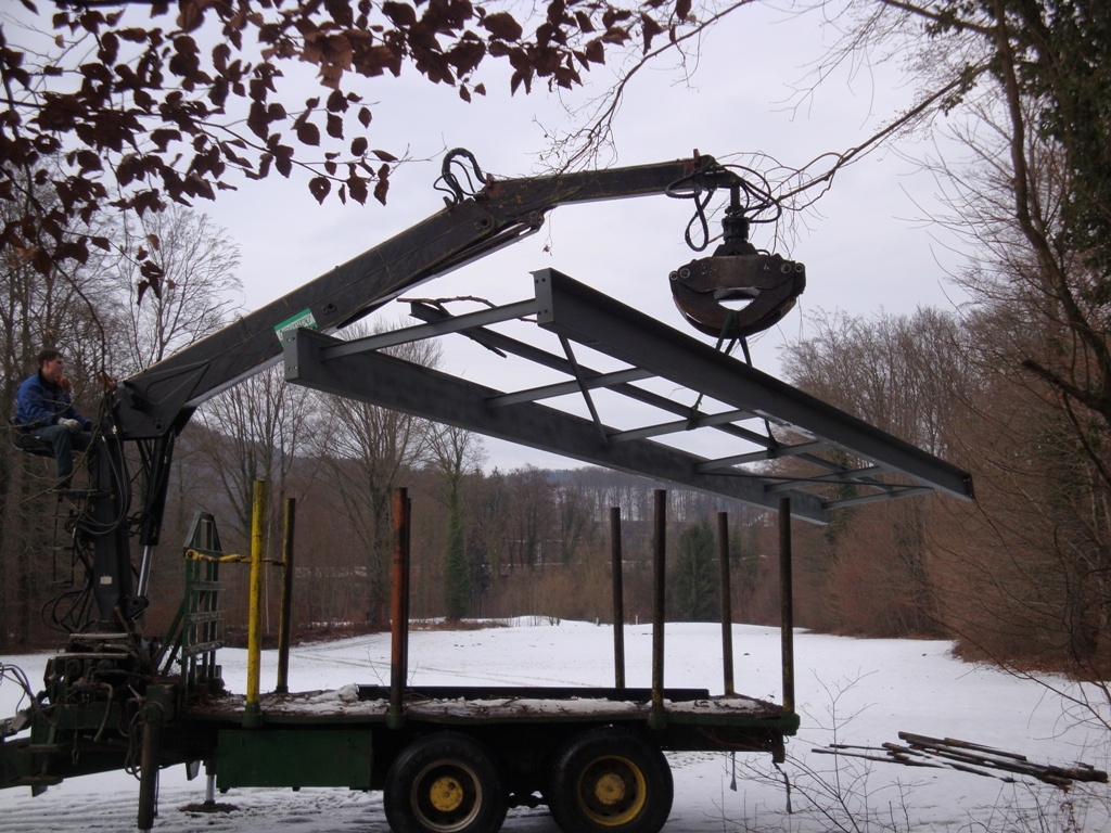 Brückenbau Stahlträger Montage