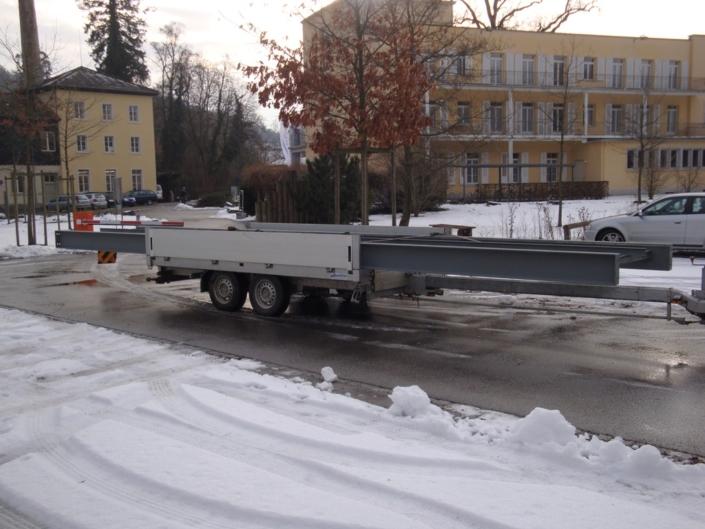 Brückenbau Stahlträger Transport